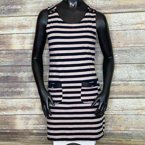 Monteau Navy Blue & Tan Stripe Dress